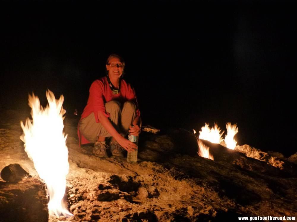 Dariece at the Chimaera Flames, Olympos, Turkey
