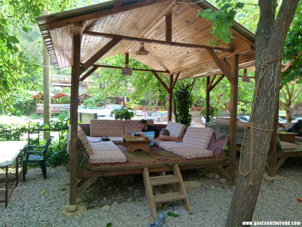 The hangout area at our guesthouse in Olympos, Turkey