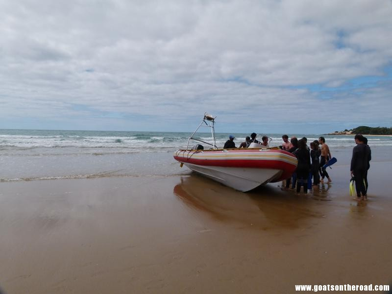 trying to get the pontoon boat in the water for a dive, Tofo, Mozambique