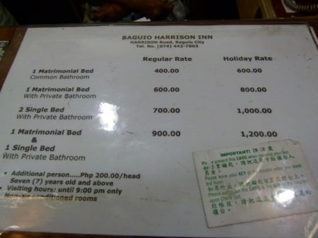 Price List For Rooms At Harrison Inn Baguio
