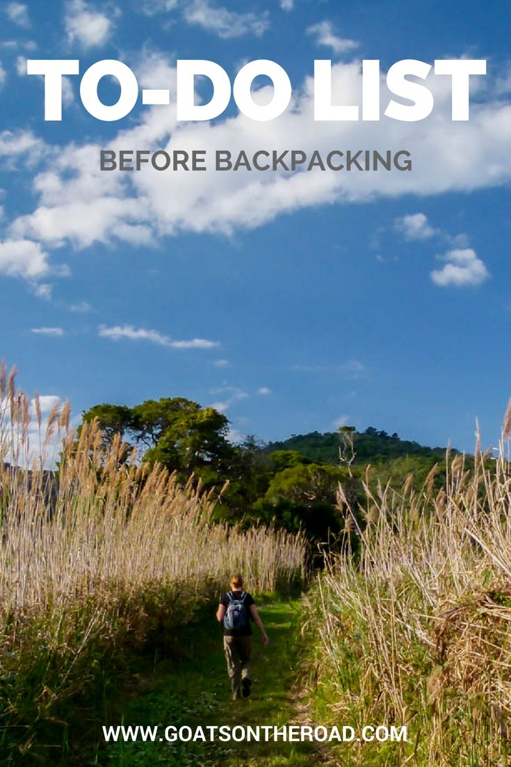 To-Do List: Before Backpacking