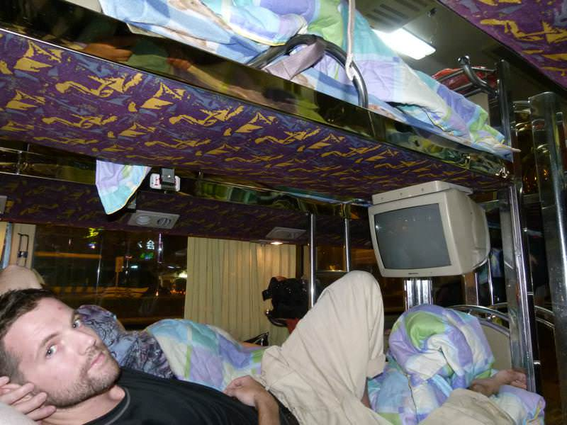 Nick getting comfortable on the overnight bus to Yangshuo