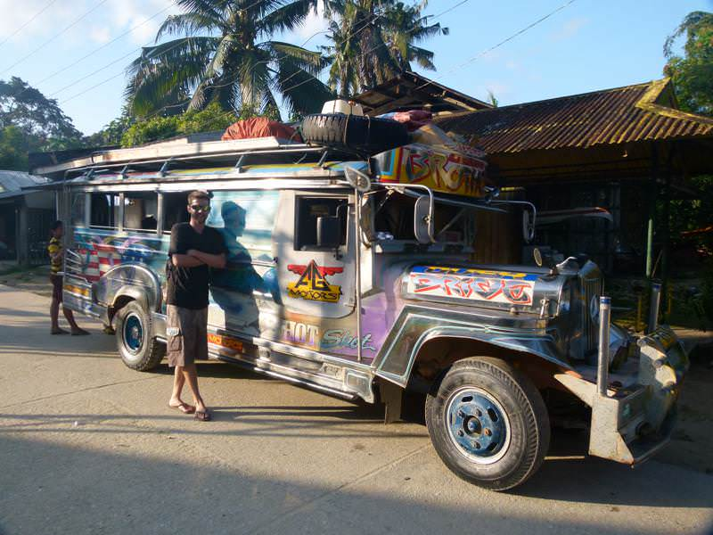 inside the jeepney from Puerto Princesa to Port Barton, Philippines