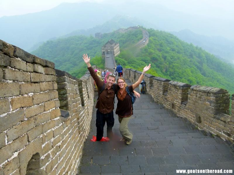 Budget backpacking couple in Beijing