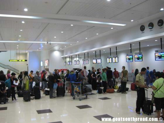 budget backpackers, going to yangon, airport