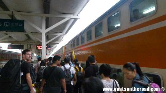Boarding the train from Guilin to Chengdu, China