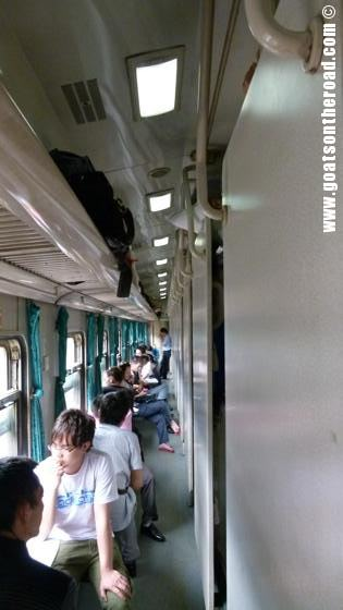 The very narrow aisle on the hard sleeper train from Liuzhou to Chengdu, China