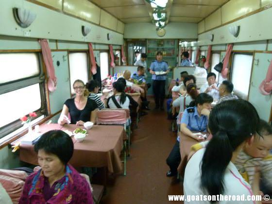 Dariece in the restaurant car on the hard sleeper train from Liuzhou to Chengdu, China