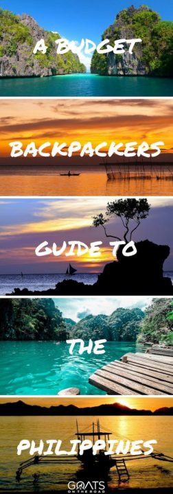 Five photographs of beaches in The Philippines with text overlay A Budget Backpackers Guide To The Philippines