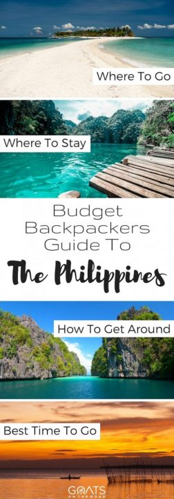 Four photographs of popular places in The Philippines with text overlay Budget Backpackers Guide To The Philippines