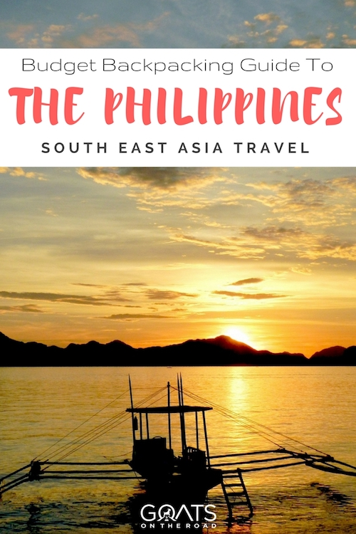 Beach sunset with text overlay Budget Backpacking Guide To The Philippines South East Asia Travel
