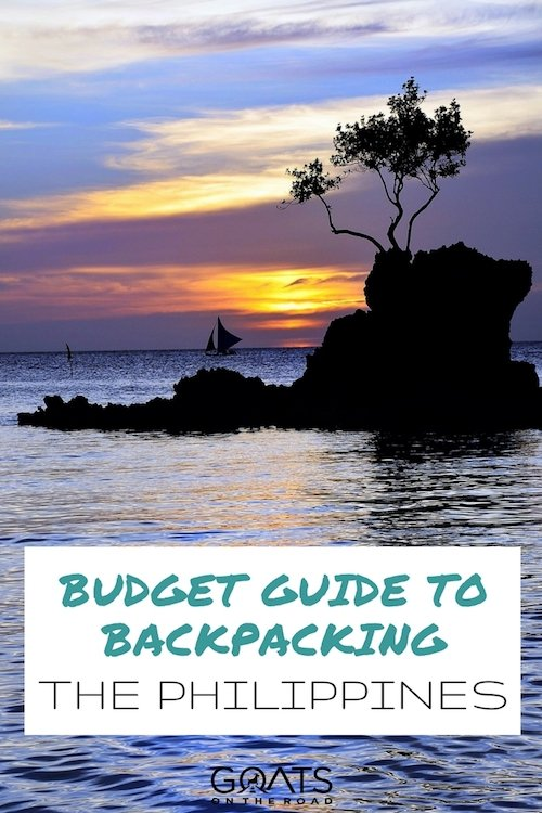 Beautiful sunset with text overlay Budget Guide To Backpacking The Philippines
