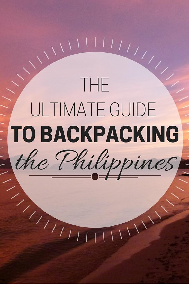 Pink sunset with text overlay the ultimate guide to backpacking the Philippines