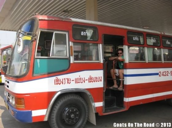 Local bus backpacking thailand