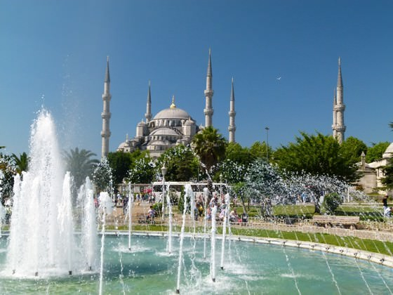 fountain with blue mosque, istanbul