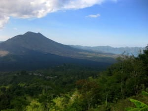 Beautiful views of Mount Batur and Lake Batur in the Kintamani area, Bali, Indonesia. travel budget