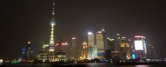 Travelling China Shanghai Skyline At Night