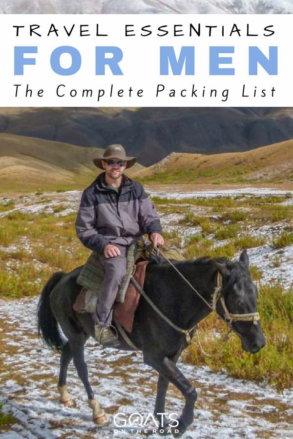 Backpacker riding horse with text overlay Complete Packing List For Men