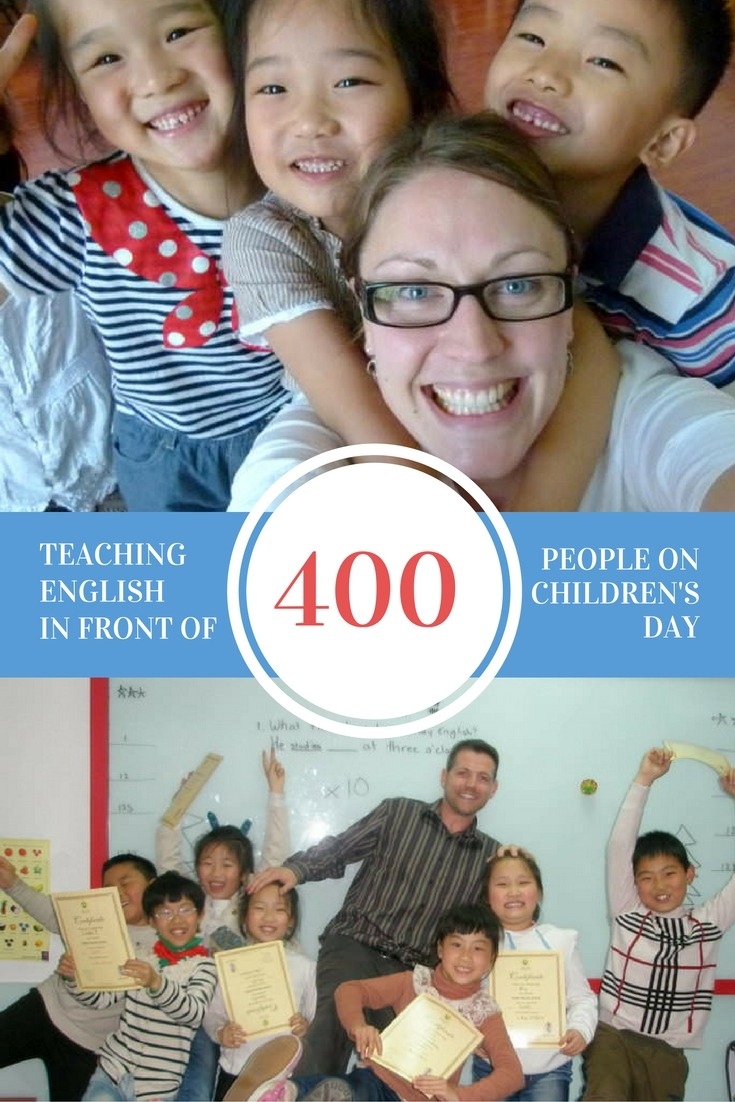 Teaching English In Front Of 400 People On Children's Day