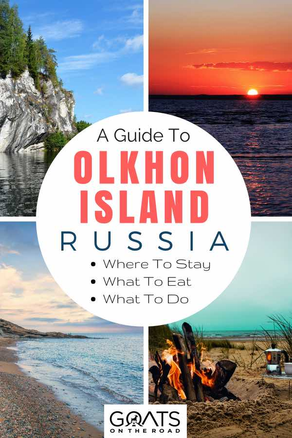 Russian beach landscapes with text overlay A Guide To Olkhon Island Russia