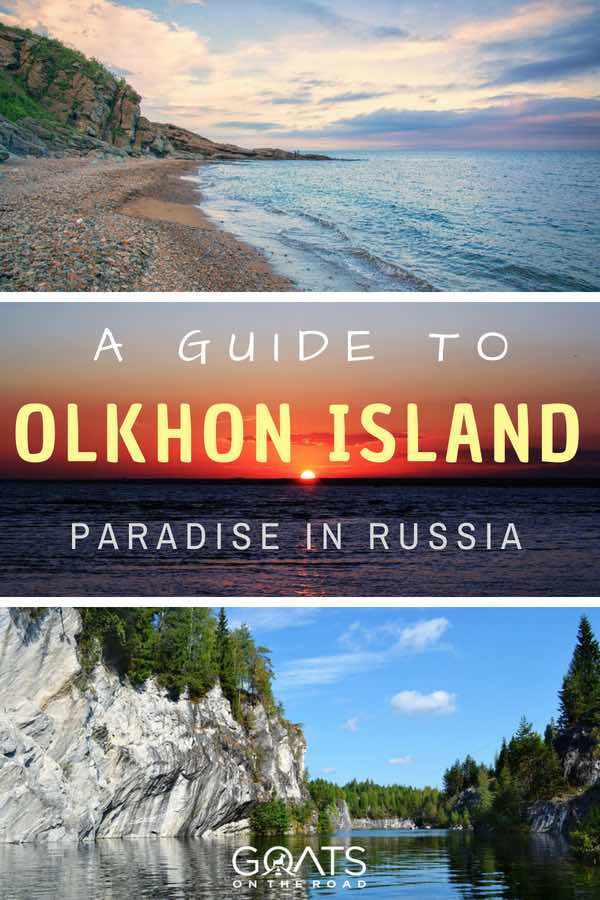 Russian beaches with text overlay A Guide To Olkhon Island