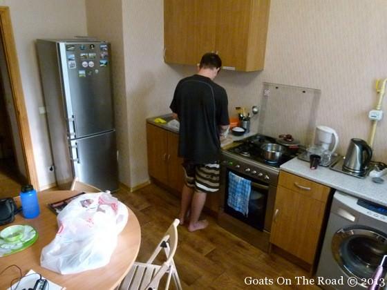 shared kitchen in dorm