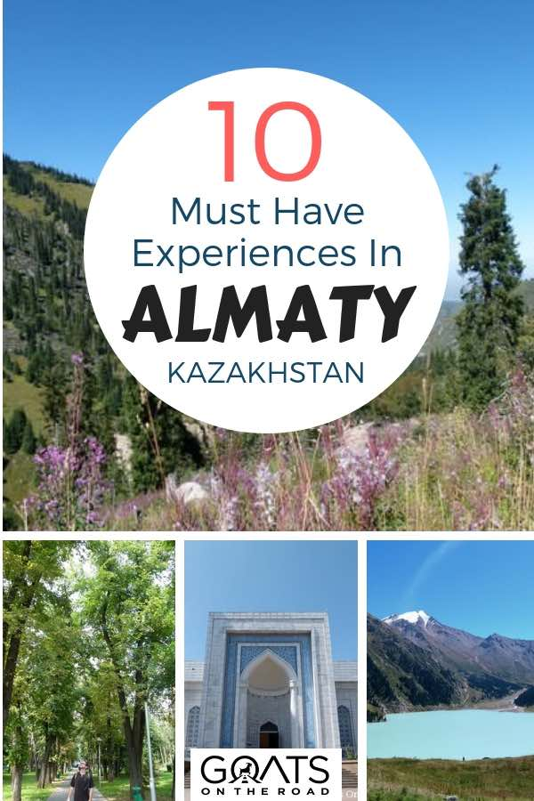 Panfilov Park and Central Mosque with text overlay 10 Must Have Experiences In Almaty Kazakhstan