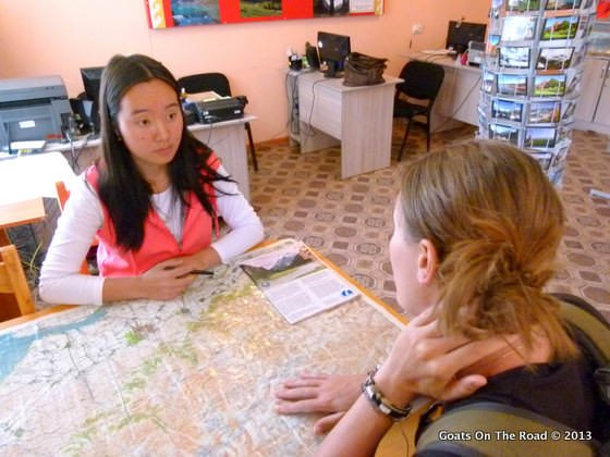 Trekking Ala-kol Altyn Arashan Planning Our Route At The Tourist Info Office In Karakol