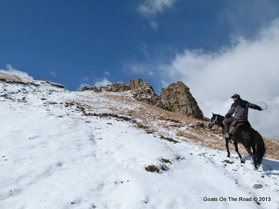 horse riding over pass