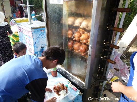 roast chickens tajikistan