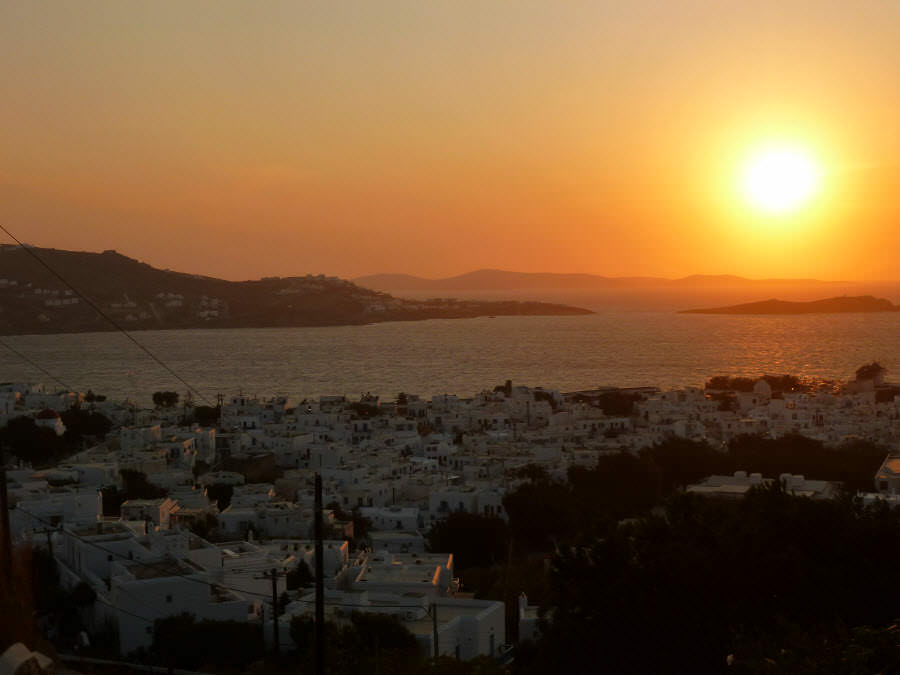 sunset mykonos greece