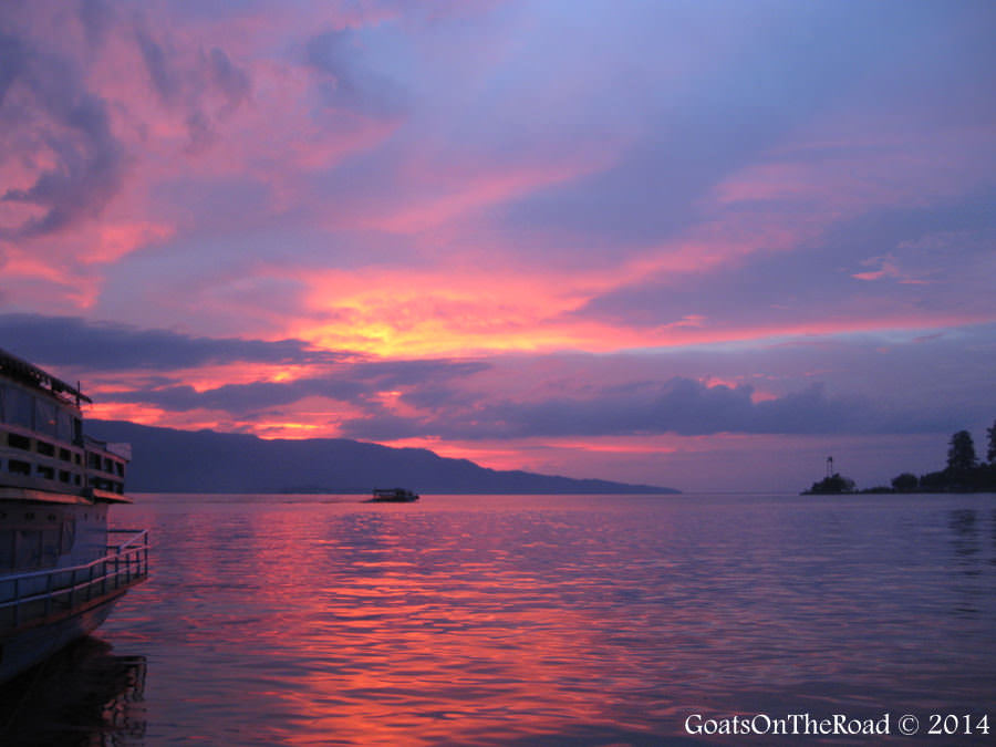sunset indonesia lake toba