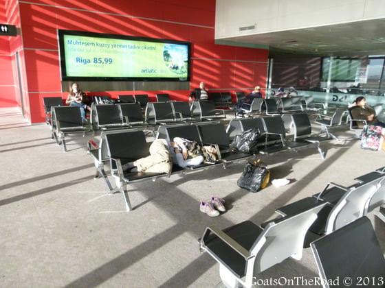 sleeping istanbul airport
