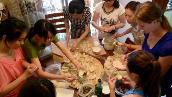 making dumplings in china