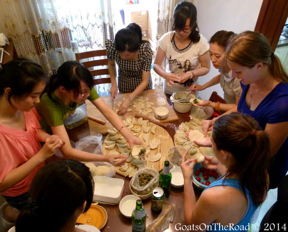 making dumplings in china