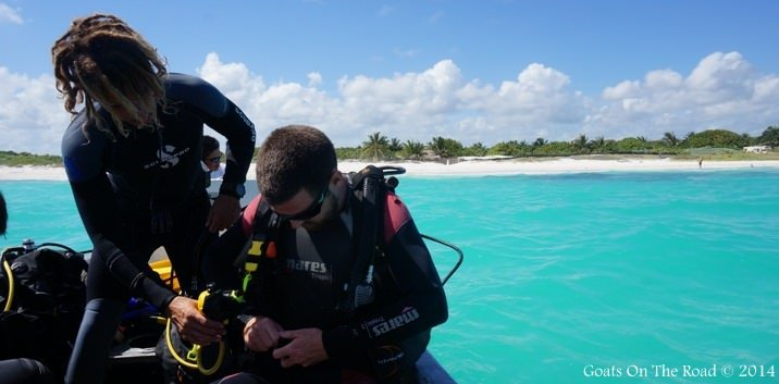 Emiliano Carefully Inspecting My Equipment For The Refresher Dive