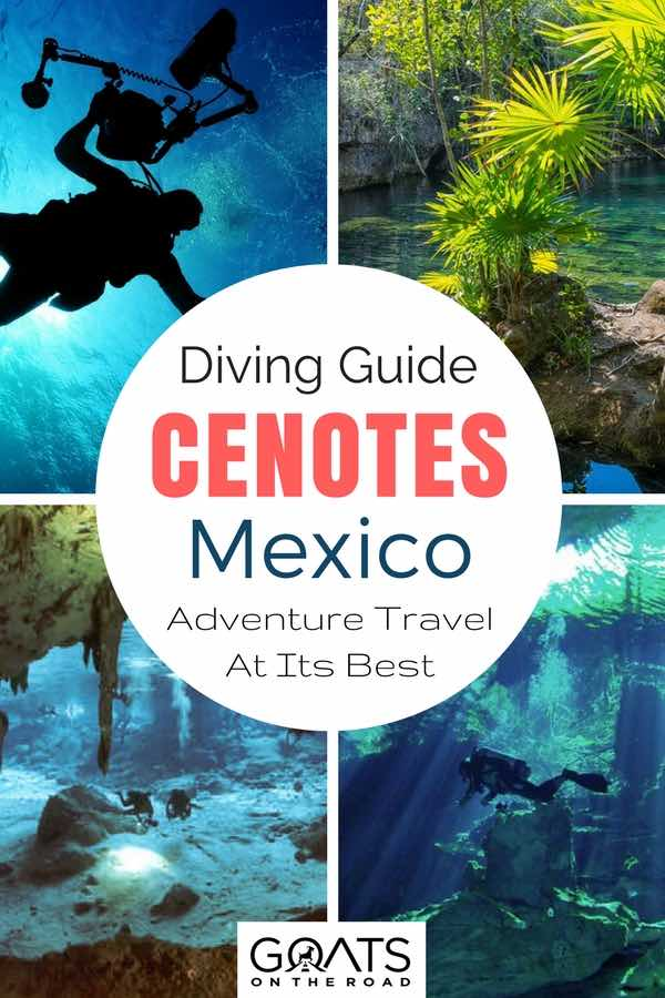 Divers in cenotes with text overlay Diving Guide Cenotes Mexico Adventure Travel