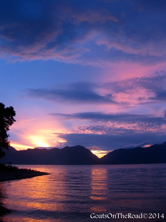 sunset lake maninjau indonesia