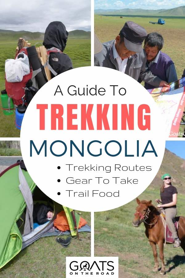 Mongolian adventure travel with text overlay A Guide To Trekking Mongolia