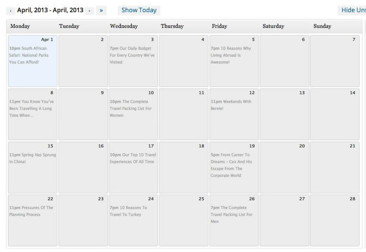 Our Editorial Calendar