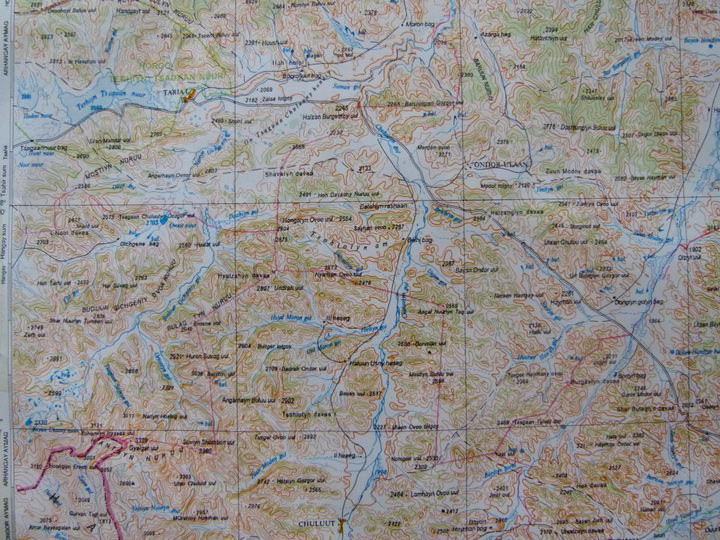 trekking in mongolia map