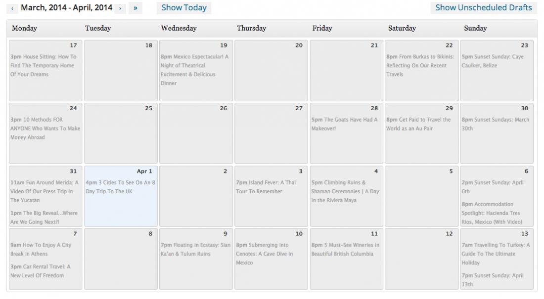 Calendar for blog traffic