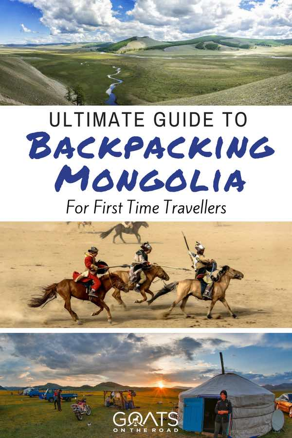Mongolian landscapes with text overlay Ultimate Guide To Backpacking Mongolia