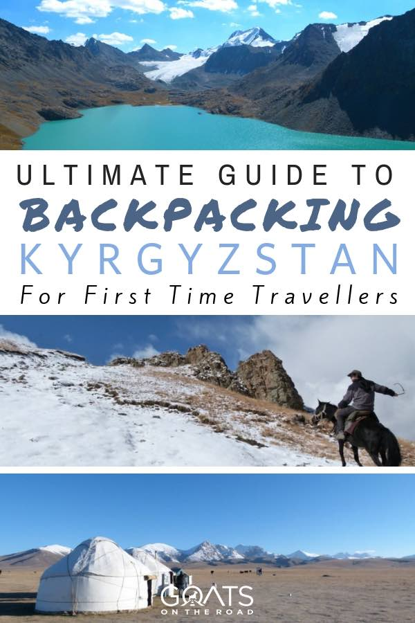 Horse trekking and mountains with text overlay Ultimate Guide To Backpacking Kyrgyzstan