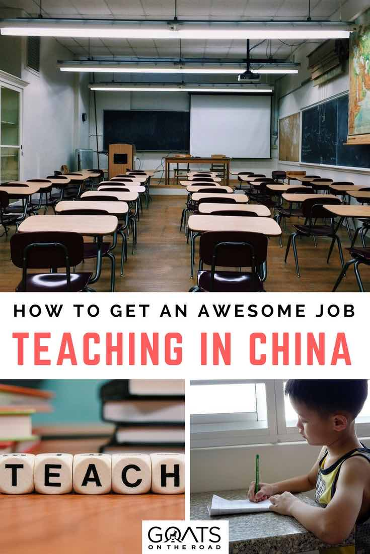 Classroom with text overlay How To Get An Awesome Job Teaching In China