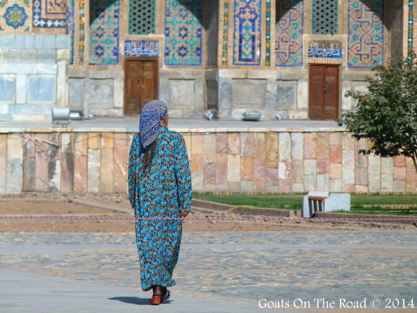 woman walking Samarkand