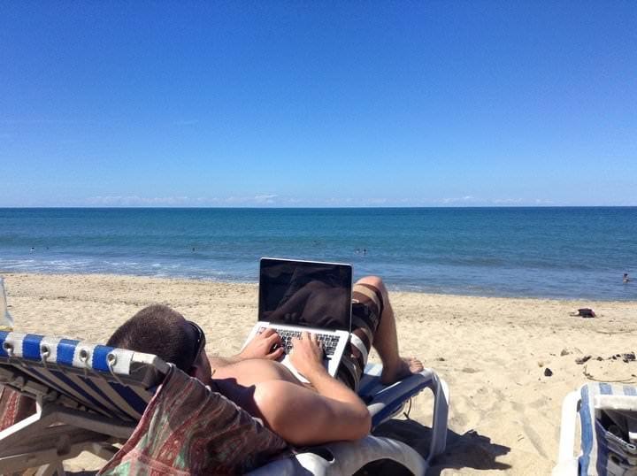 Blogging on the beach
