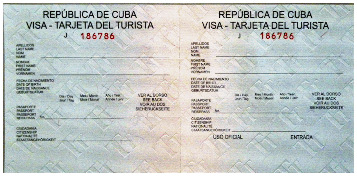 tourist card for cuba