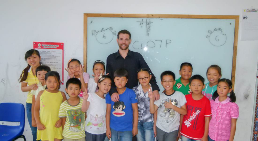 teaching jobs in China Nick with his Students