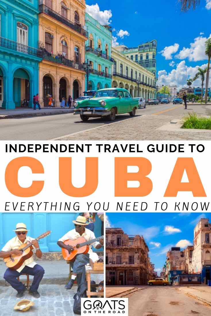 Havana with text overlay independent travel guide to cuba